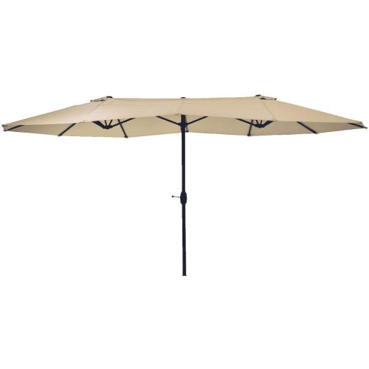 Outdoor Expressions Steel Crank Tan Double Patio Umbrella