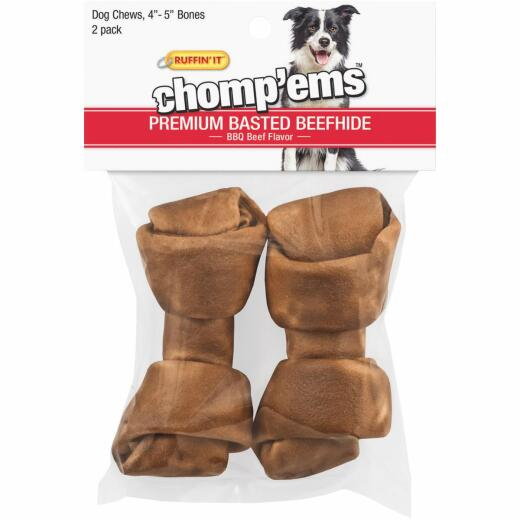 Westminster Pet Ruffin' it Chomp'ems Knotted 4 In. to 5 In. Beef Rawhide Bone (2-Pack)