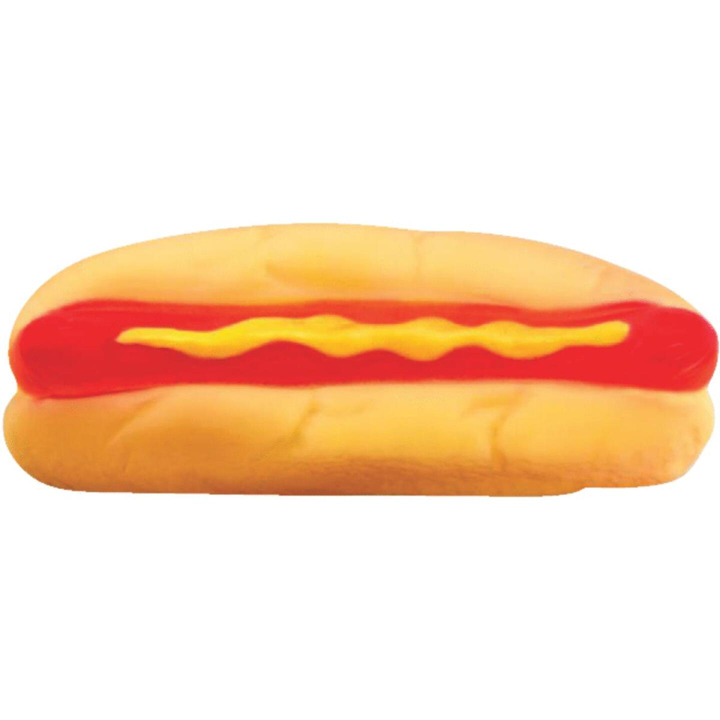 Westminster Pet Ruffin' it 1.66 In. W. x 2.0 In. H. x 5.25 In. L. Squeaky Hot Dog Vinyl Dog Toy Image 1