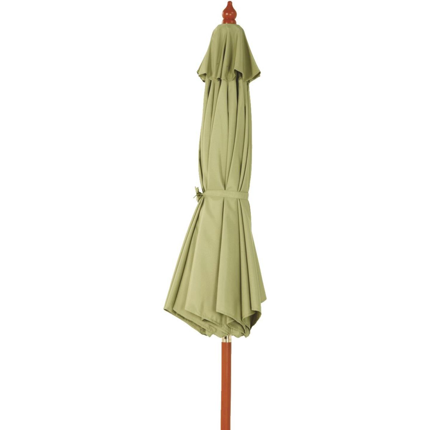 Outdoor Expressions 9 Ft. Pulley Sage Market Patio Umbrella with Brass Plated Hardware Image 4