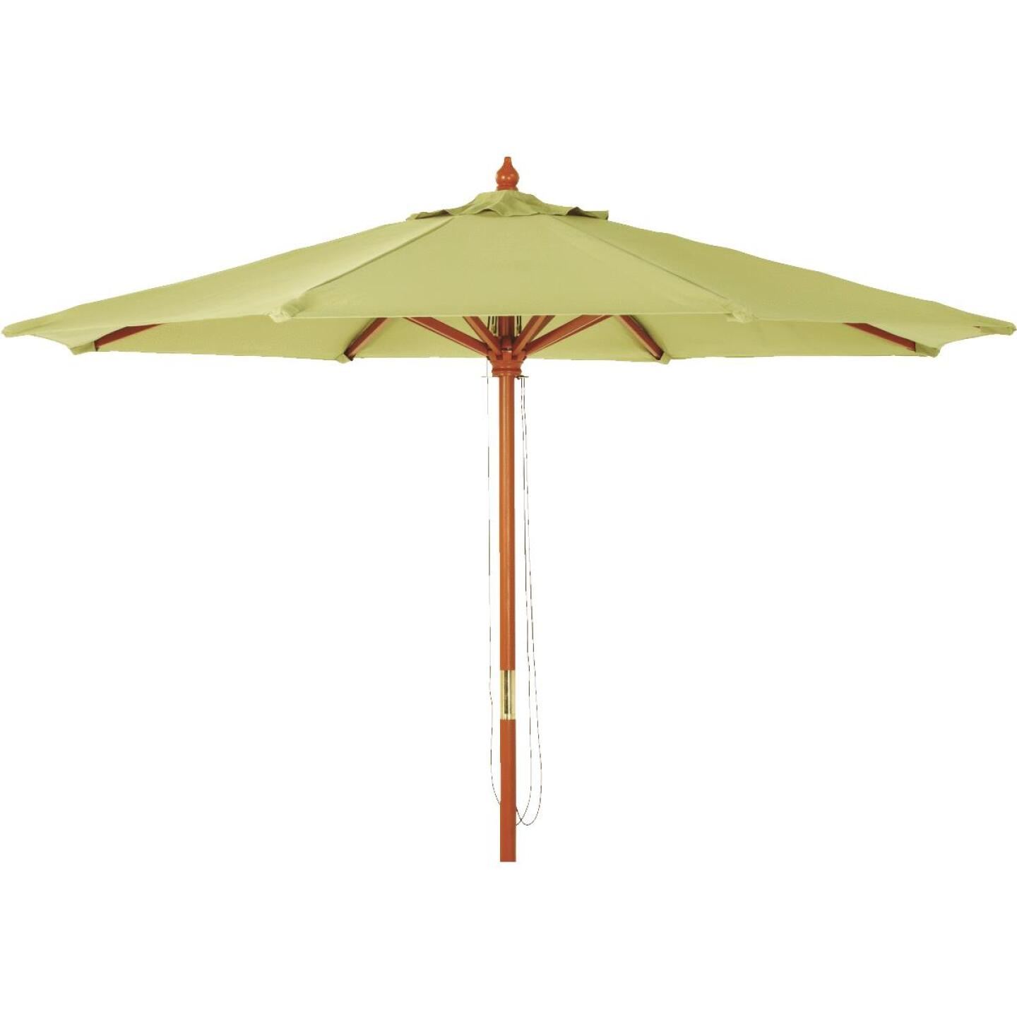 Outdoor Expressions 9 Ft. Pulley Sage Market Patio Umbrella with Brass Plated Hardware Image 1