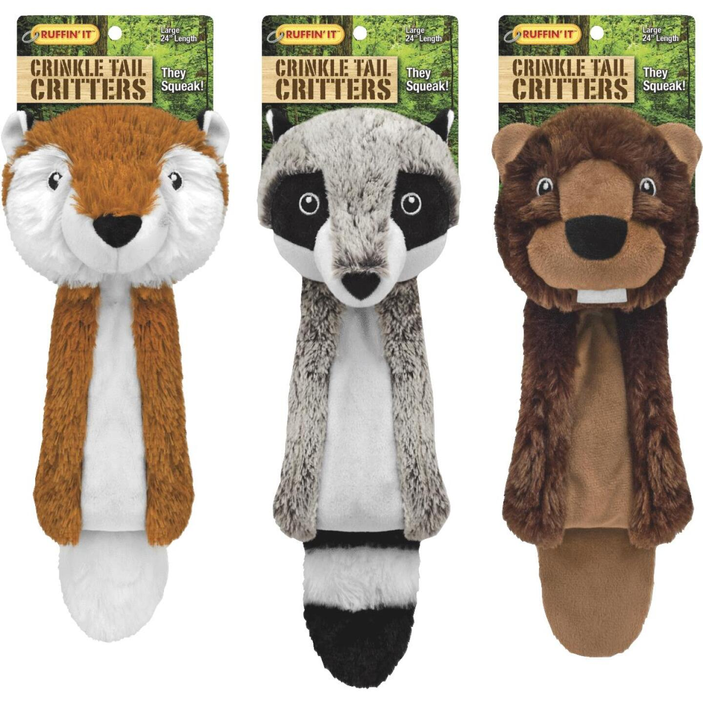 Westminster Pet Ruffin' it Crinkle Tail Critters 24 In. Squeaky Fox Dog Toy Image 1