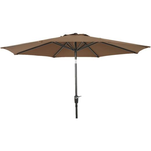 Outdoor Expressions 9 Ft. Aluminum Tilt/Crank Brown Patio Umbrella