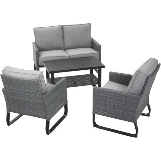 Valencia 4-Piece Steel Deep Seating Chat Set with Cushions