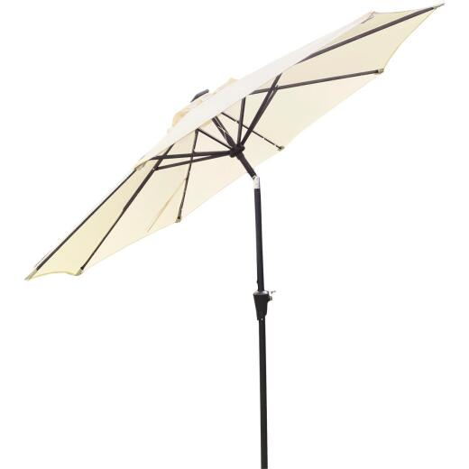 Outdoor Expressions 9 Ft. Aluminum Tilt/Crank Cream Patio Umbrella with Solar LED Lights