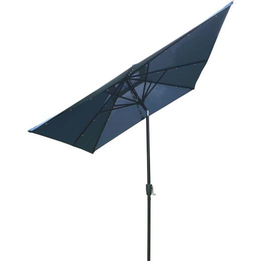 Outdoor Expressions 9 Ft. x 7 Ft. Rectangular Aluminum Tilt/Crank Heather Blue Patio Umbrella with Solar LED Lights