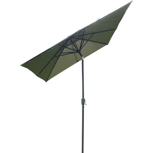 Outdoor Expressions 9 Ft. x 7 Ft. Rectangular Aluminum Tilt/Crank Heather Green Patio Umbrella with Solar LED Lights