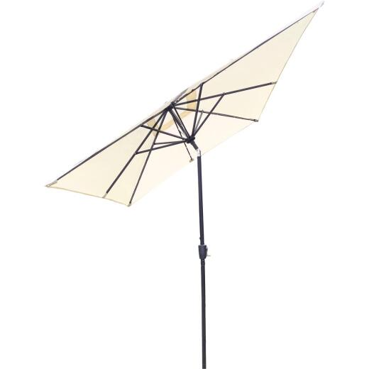 Outdoor Expressions 9 Ft. x 7 Ft. Rectangular Aluminum Tilt/Crank Cream Patio Umbrella with Solar LED Lights
