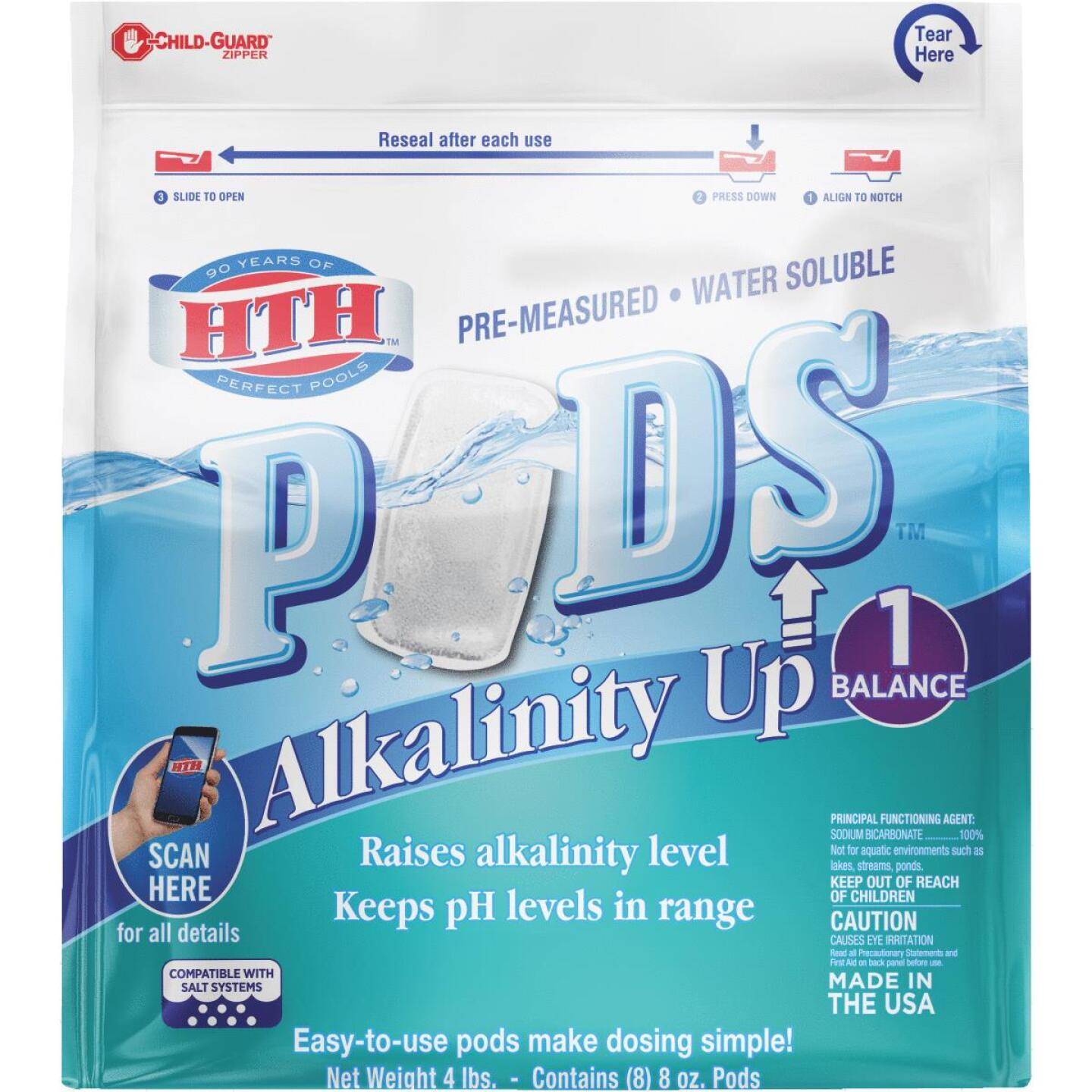 HTH 8 Oz. Pre-Measured Water Soluble Alkalinity Up Pods Image 1