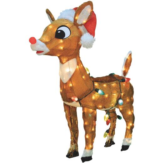 Product Works 24 In. Incandescent Rudolph with Santa Hat Holiday Figure